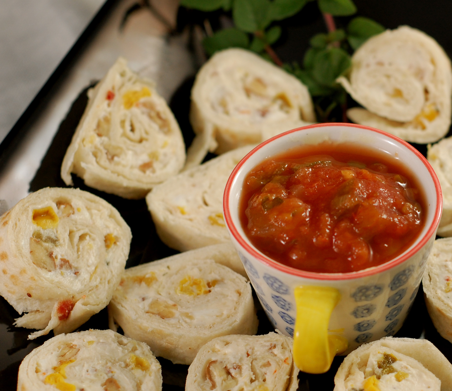 tortilla rolls with salsa